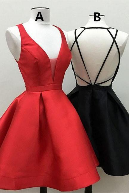 Sexy Prom Dress Homecoming Dress, Junior Party Dress, Short Homecoming Dress,Deep V Homecoming Dress Cross Criss Party Dress in Black, Red. HG1702
