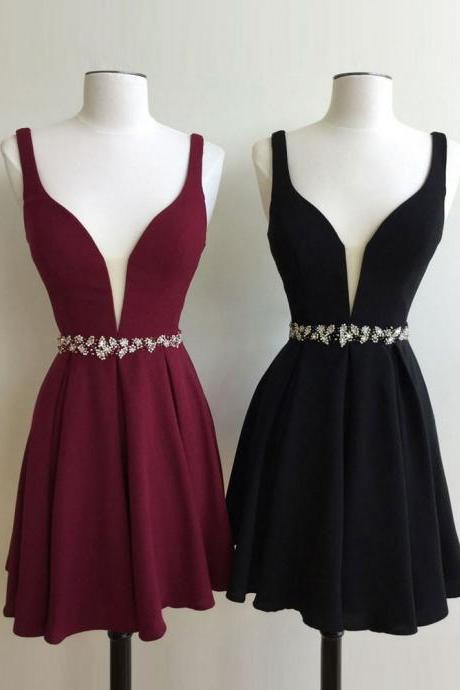Party Dresses, Chiffon Party Dress, Deep V Party Dress, Cheap Homecoming dresses,Sleeveless Homecoming dresses HG1704