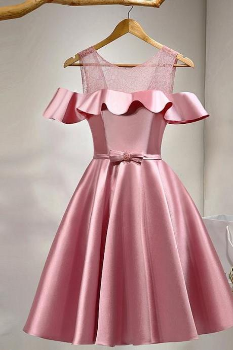 Party Dresses,Cute Party Dress, A Line Party Dress, Pink Homecoming dresses,Ruffled Satin Homecoming dresses,Knee Length Homecoming Dresses HG1703