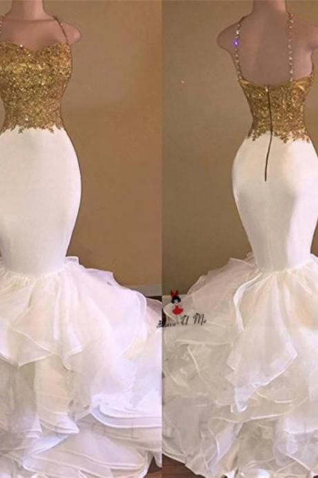 Sexy Prom Dresses,Long Mermaid White and Gold Prom Dresses,2017 Prom Dresses ,Spaghetti Strap Applique Lace Prom Dresses, Ruffles Organza Prom Dress HG1710