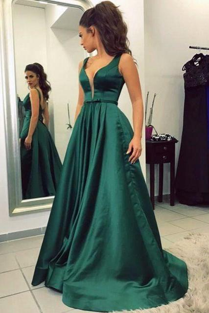 Prom Dresses,Double Straps Evening Prom Dresses ,Green Prom Dress Simple Style Prom dress HG1719