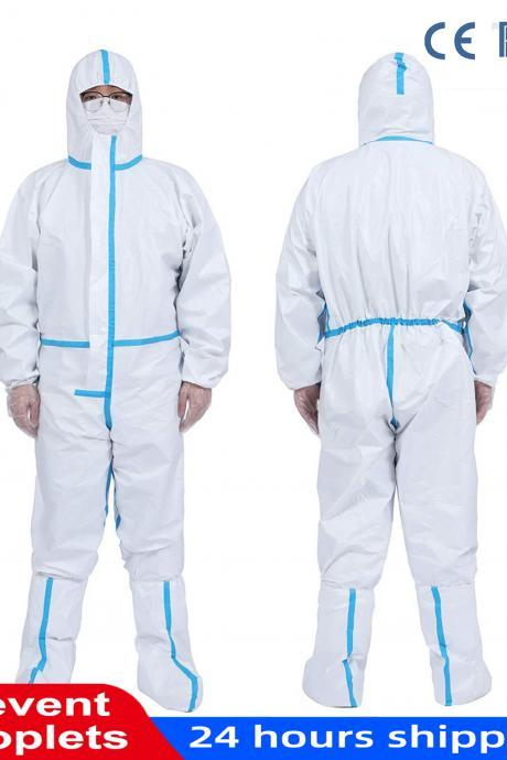 Disposable Protective Coverall Suit with Elastic Wrist and Hood Without Boots Tyvek Coverall Suit, White,