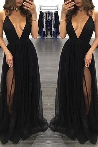 Sexy Tulle Party Dress, Black Dress, Side Split Dress HG1444